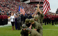 NJROTC reenacts historical moment at Iwo Jima in front of thousands at USC football game