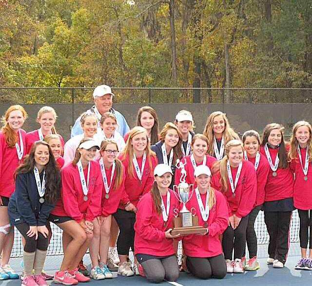 The+Chapin+Varsity+Girls+Tennis+Team+with+their+trophy+after+being+awarded+Runners-up+at+State.