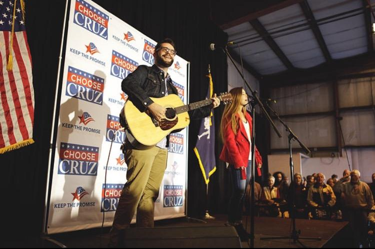 Chapin High Senior Nicole Pinelli and Phillip Strickland sing the National Anthem at a Ted Cruz rally in West Columbia.