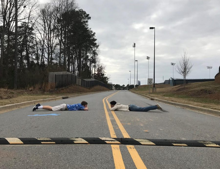 Seniors Alex Cook and Nick Price demonstrate a challenge that should not be attempted in 2018. The Speed Bump Challenge.