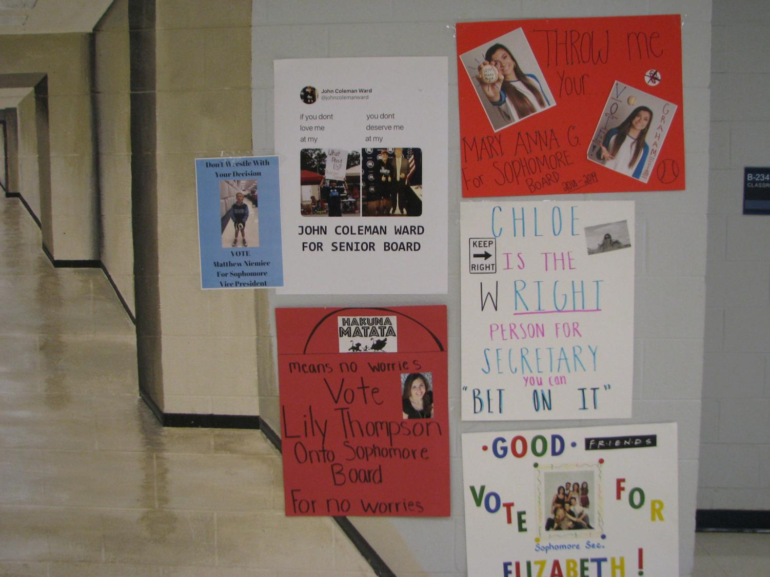 Election posters for Friday's SGA Elections.