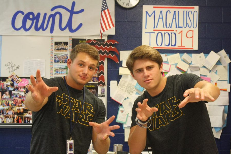 James Wells and Banks Todd show their spirit for Twin Day.