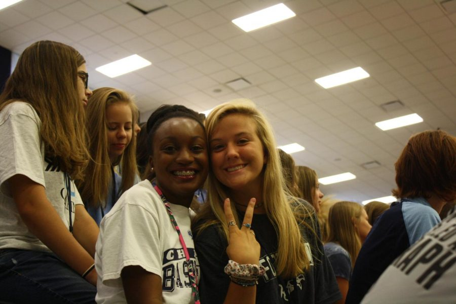 Students smile for the camera as the Pep Rally Games get underway.