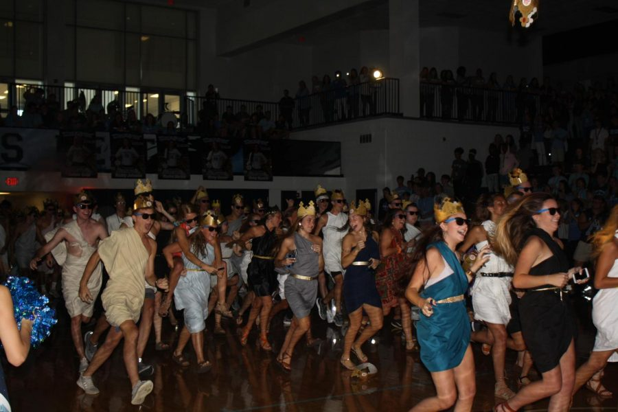 Seniors take to the floor for the first Pep Rally of the 2018-2019 school year.