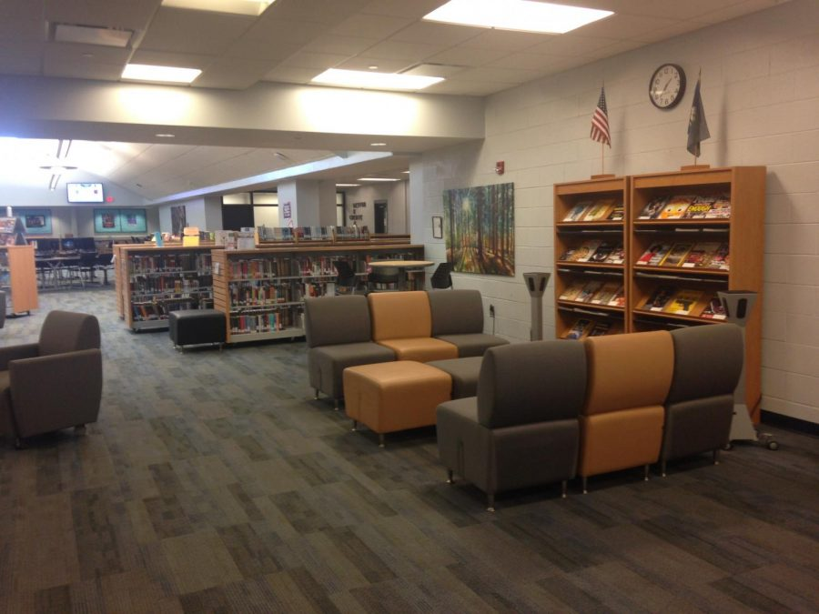 New seating areas have been installed in the media center.