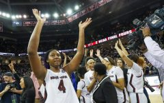 South Carolina's Aliyah Boston (4) celebrates after defeating Uconn in the Colonial Life Arena.  2/10/20